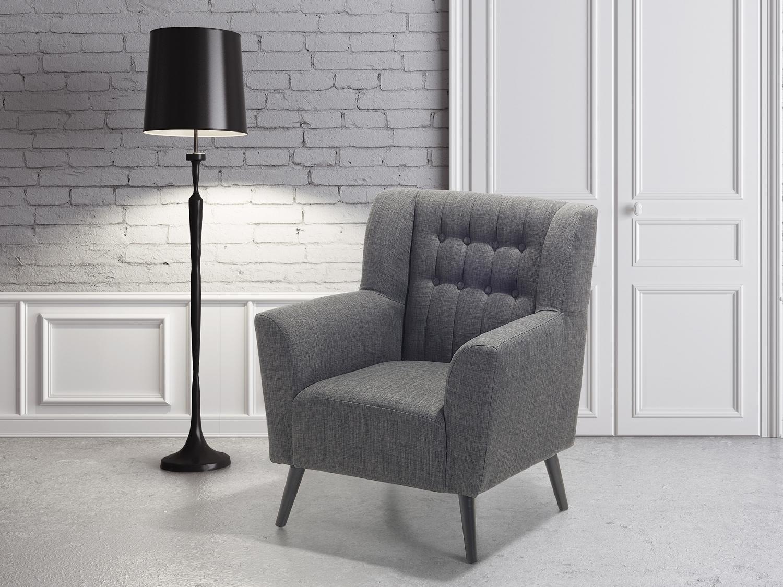Sessel dunkelgrau ohrensessel fauteuil polstersessel for Sessel ohrensessel