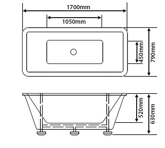 Freestanding, Rectangular Bath, Tub, Roll Top, Overflow