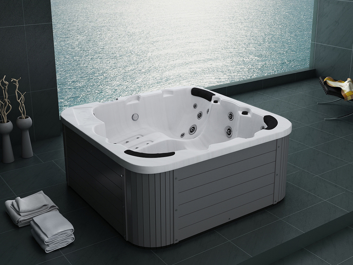 pool whirlpool outdoor spa badewanne farblichttherapie massage heizung ebay. Black Bedroom Furniture Sets. Home Design Ideas