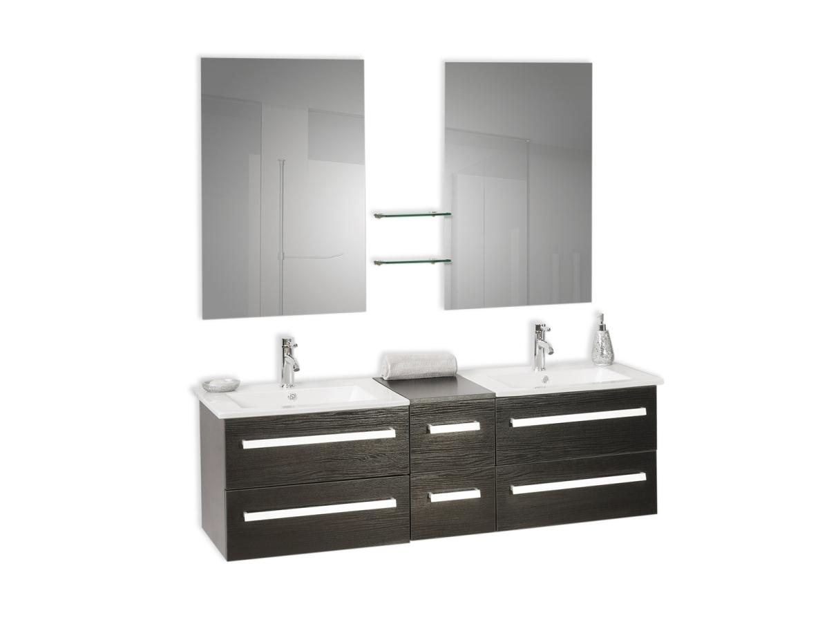 Meuble de salle de bain meuble double vasque tiroirs for Miroir 90x60