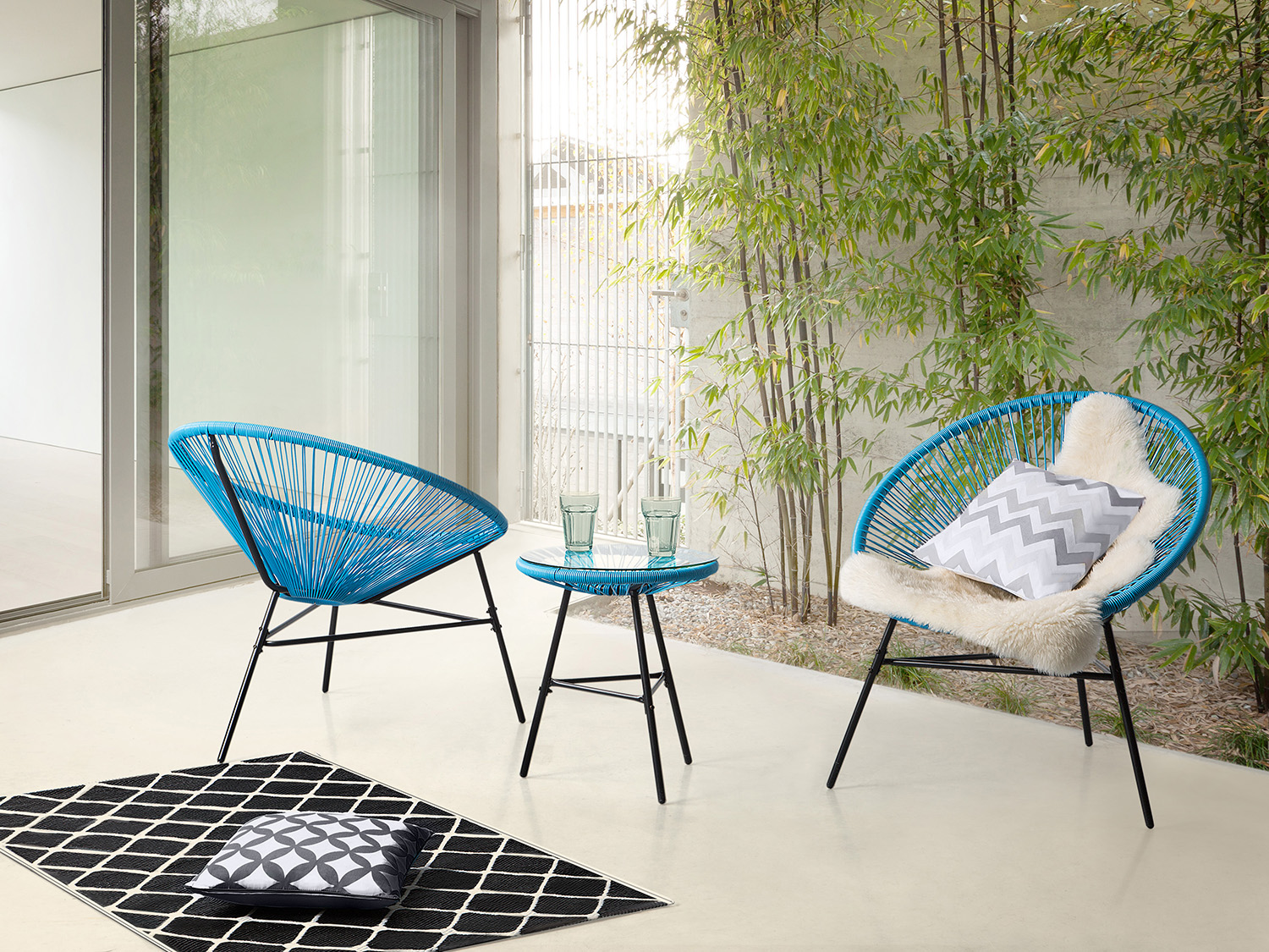 Garden bistro set, table and 2 chairs, Mexican chair, weave pattern, blue  eBay