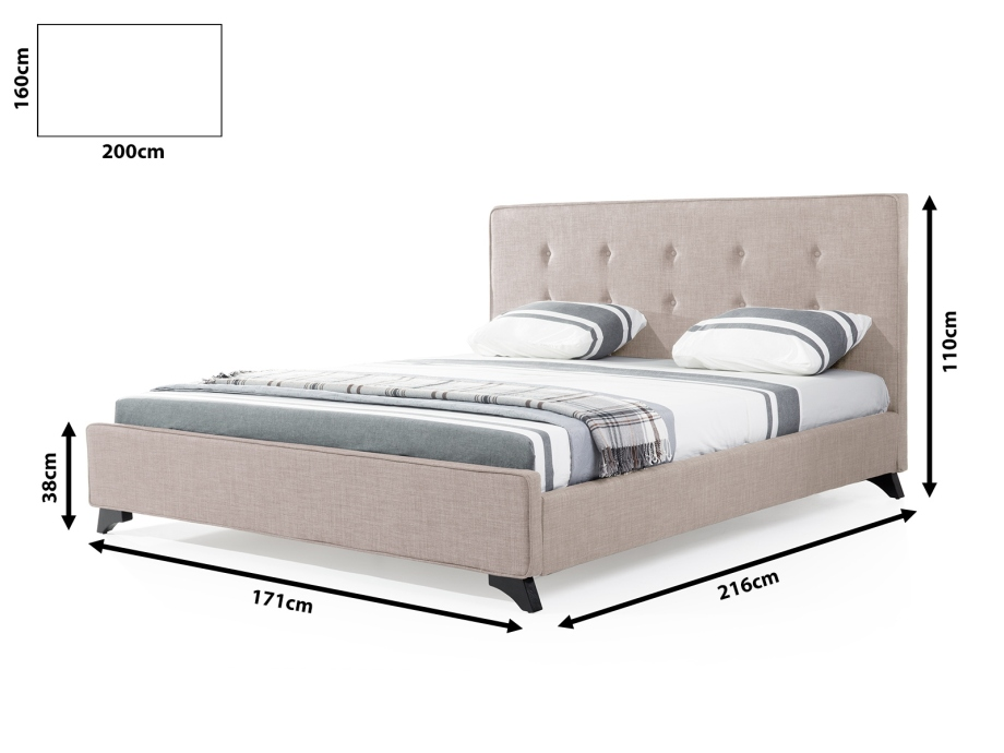 Upholstered bed divan bed beadsteads beige bed king for King size divan bed without mattress