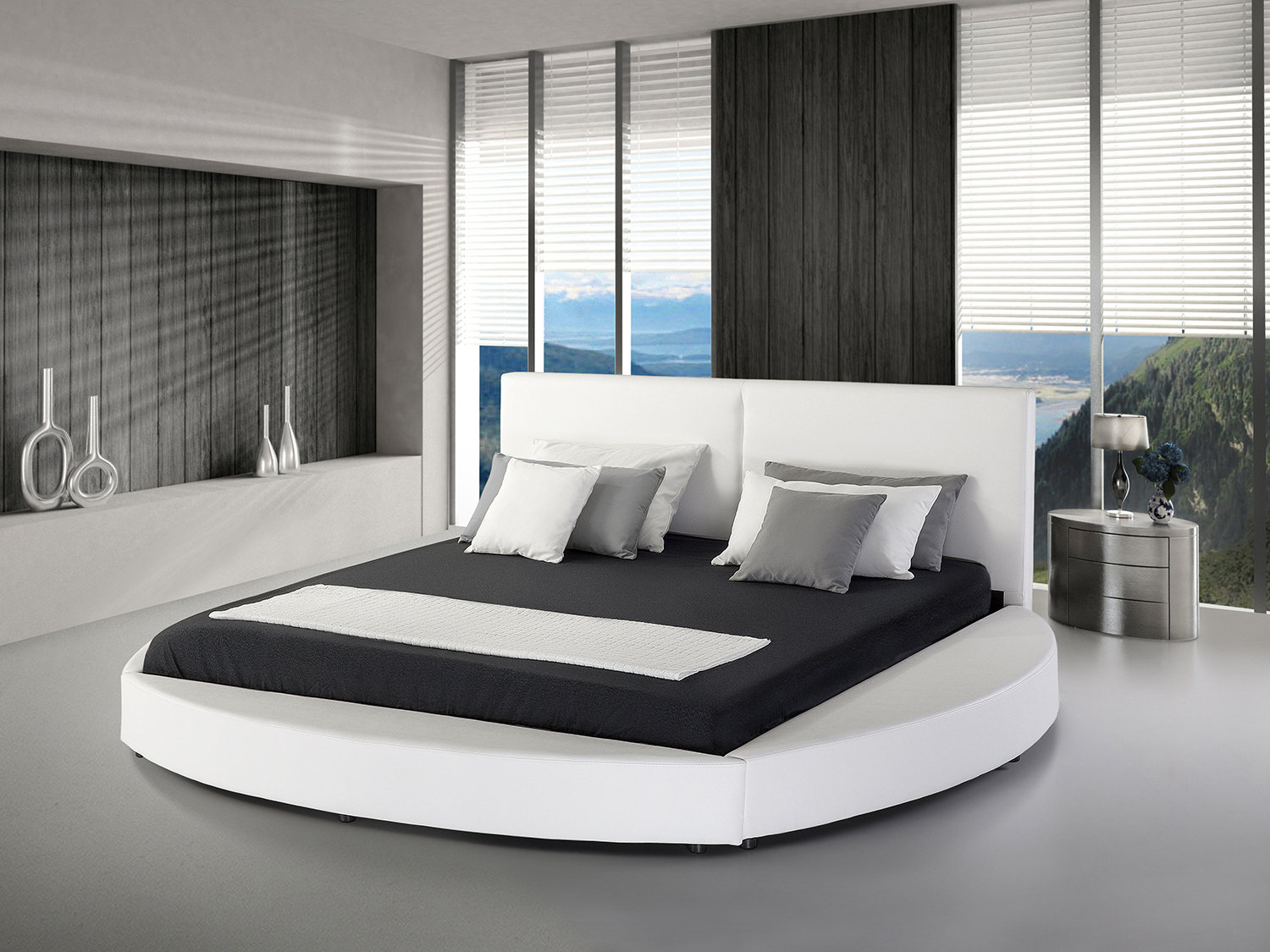 bed super king size bed frame 180x200 cm leather round white ebay. Black Bedroom Furniture Sets. Home Design Ideas