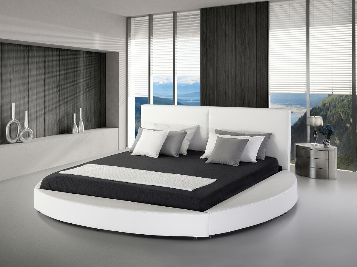 Bett, echtlederbett, lederbett, polsterbett, weiss, 180 x 200 cm ...
