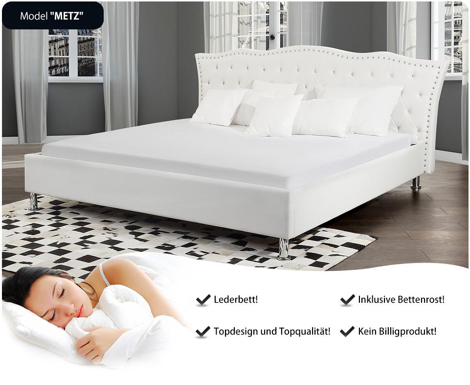 bett weiss 180x200 lederbett ehebett in baar kaufen bei. Black Bedroom Furniture Sets. Home Design Ideas