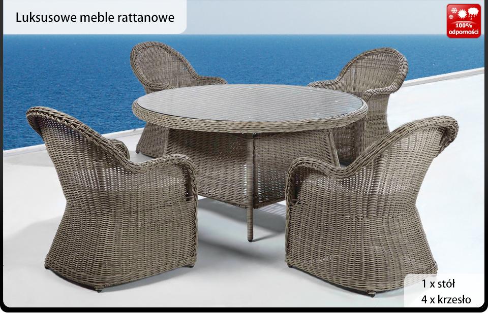 Meble Ogrodowe Sztuczny Rattan Allegro : Rattan wiklina meble ogrodowe stół krzesła NAPLES  3284835482