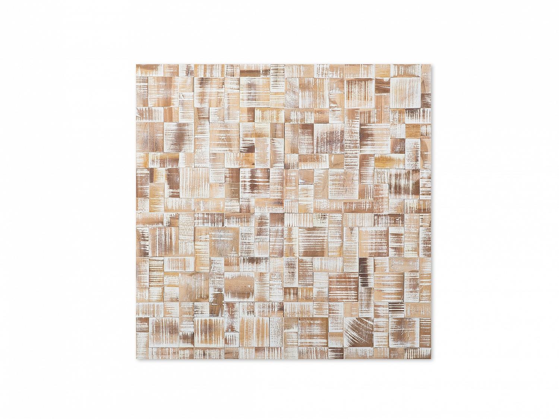 Wanddeko Deko Wandbilder Quadratisch Wandmosaik Holz Wohnzimmer 80x80