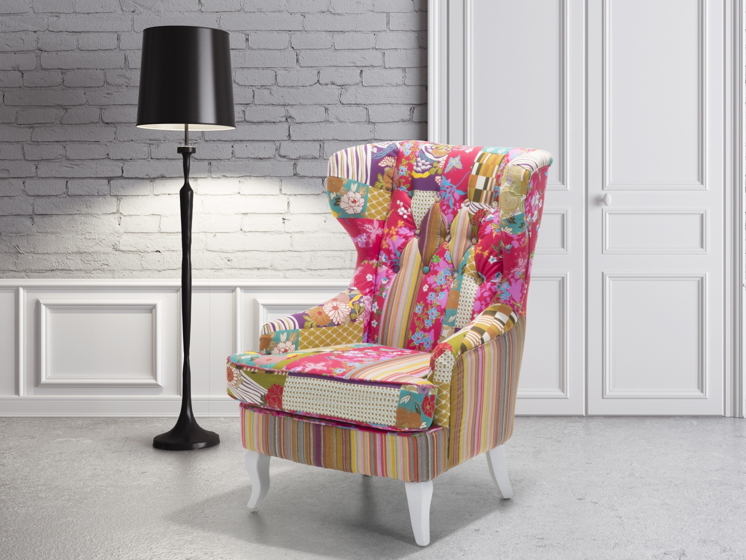 Upholstered Armchair Wingback Chair Settee Living Room Chair Patchwork Ebay