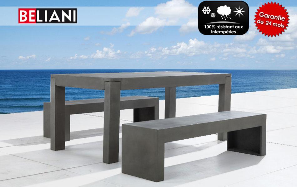 Ensemble de table et deux bancs en b ton de beliani for Acheter des meubles en suisse