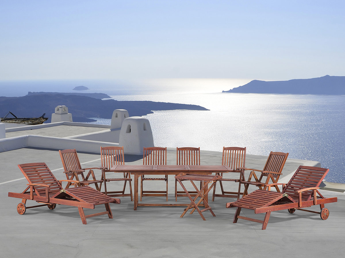 Gartenmobel Gartenregal Eisen :  Tisch + 6 Stühle + 2 Sonnenliegen + Beistelltisch, Akazienholz  eBay