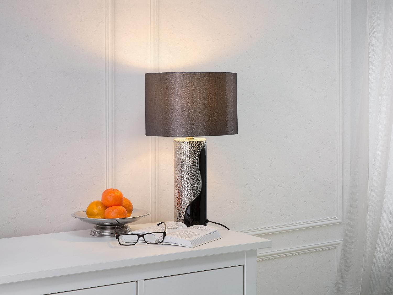 Lampe à poser design argent Lampe de salon Noir et argent Lampe de chevet