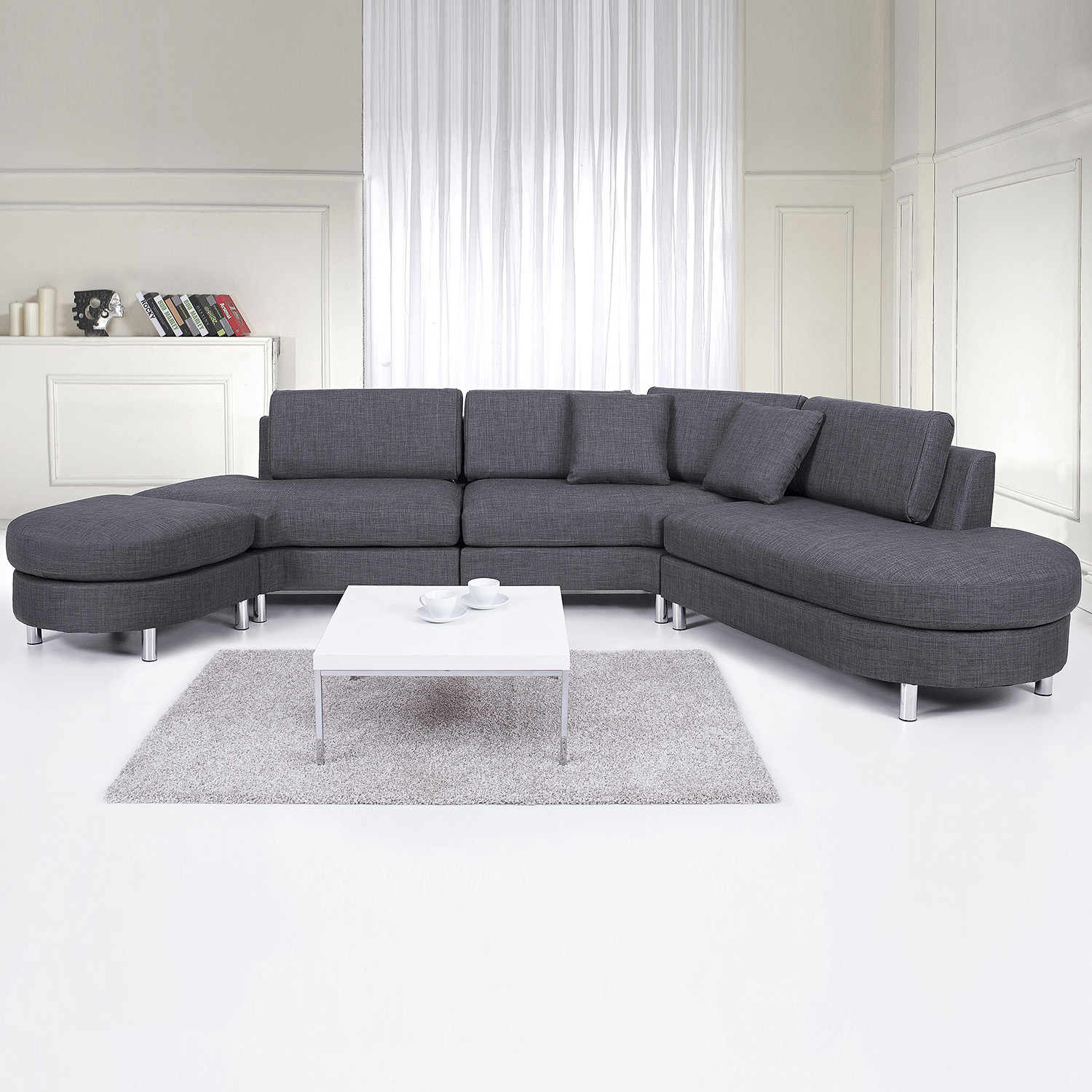 Upholstered Sofa 5 Seater Corner Couch Sectional Settee Grey Fabric Copenhagen Ebay