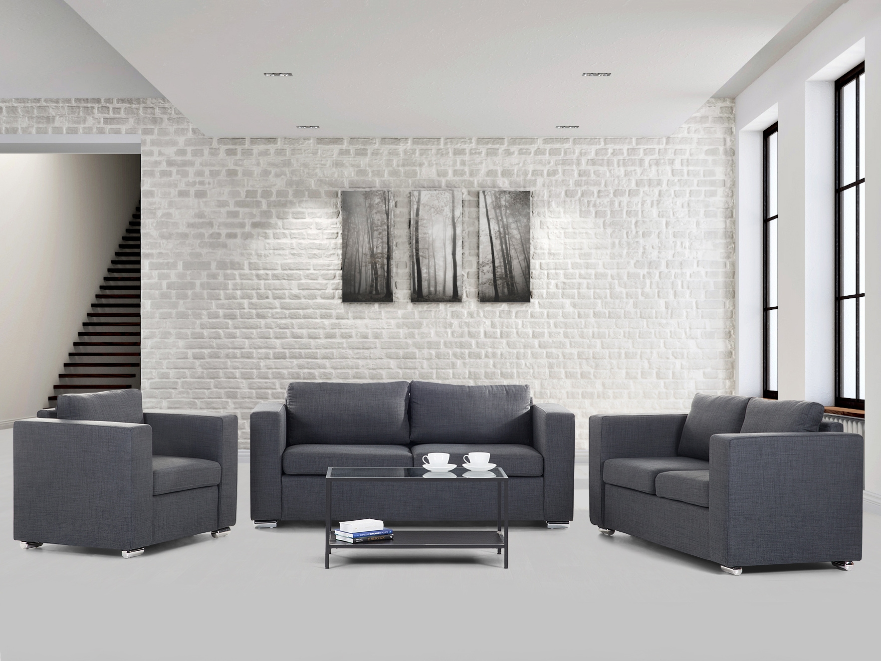 Image Is Loading Dark-grey-Couch-Suite-Settee-Sofa-set-3-