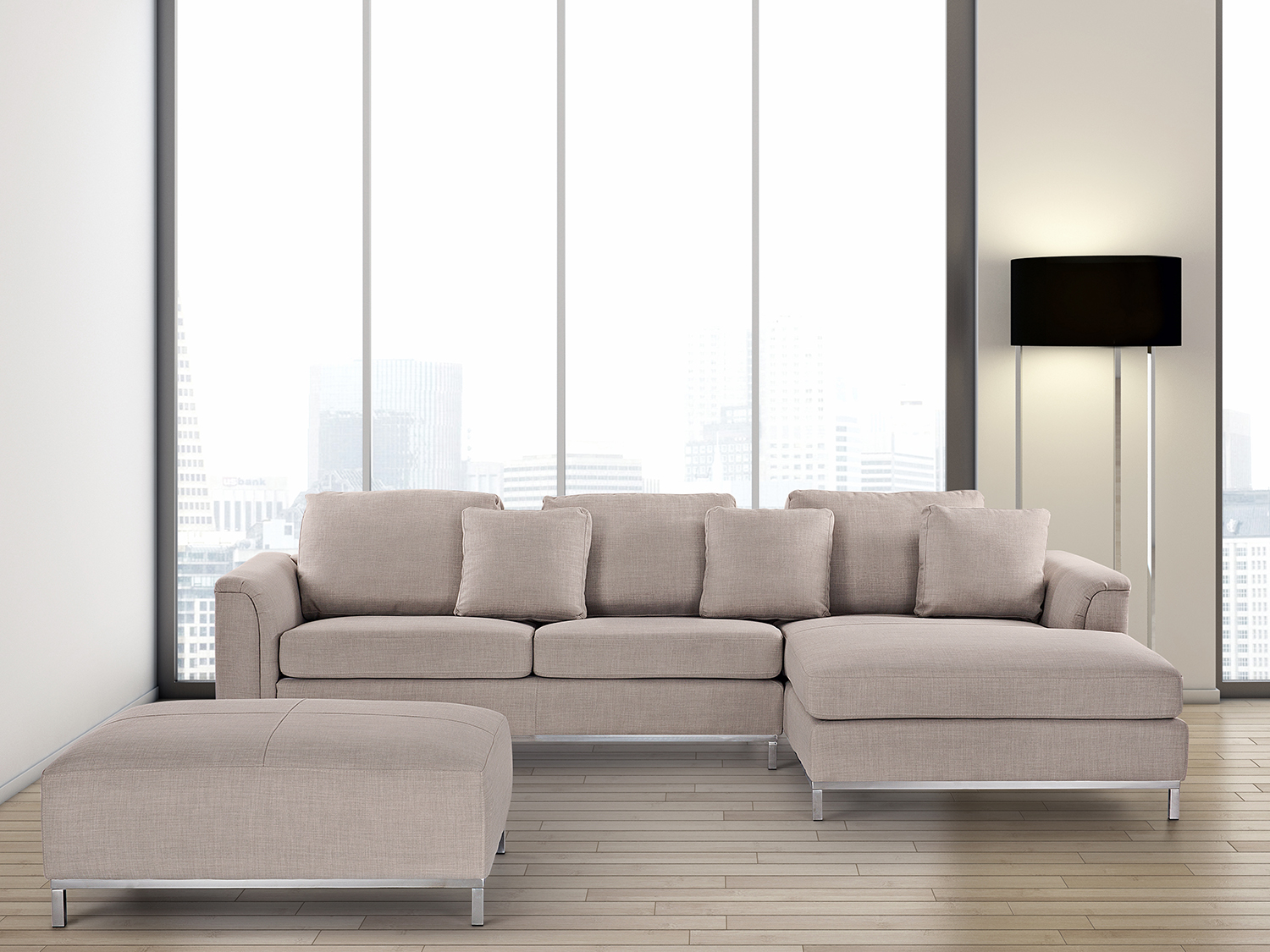 Beige Upholstery Suite With Ottoman Corner Sectional
