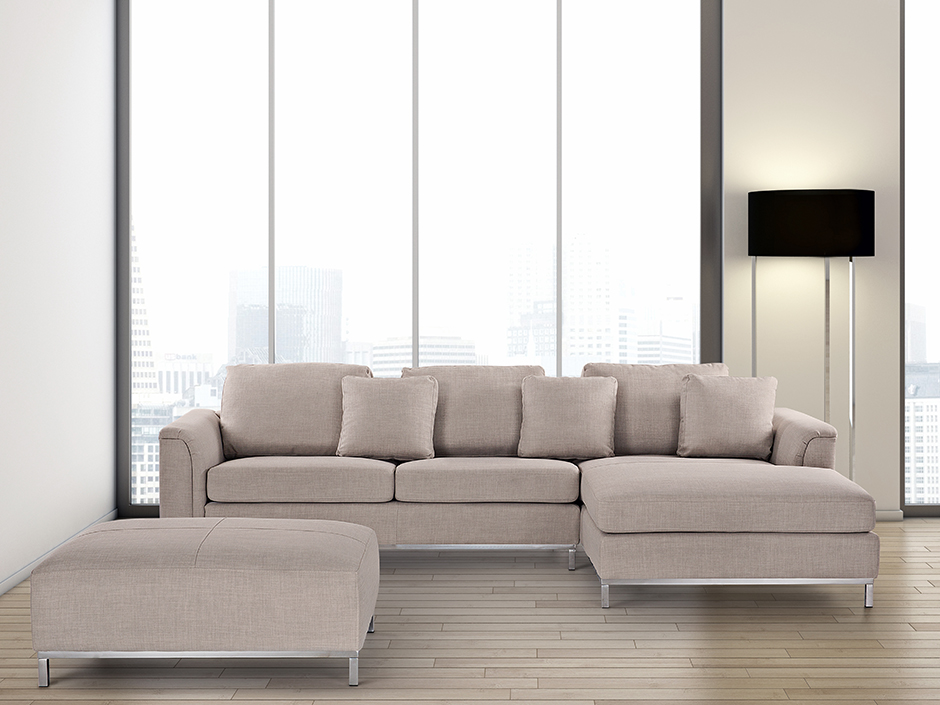 SUITE OSLO WITH OTTOMAN CORNER SECTIONAL SOFA BEIGE FABRIC FURNITURE LIVING R