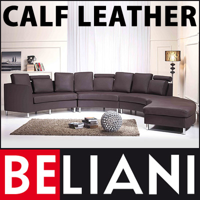 Genuine leather round sofa 7 seater couch brown living for 7 seater living room