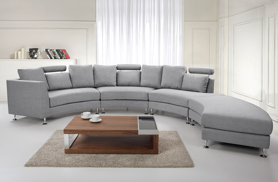 seven seater couch grey rotunde upholstery round sofa settee sectional ebay. Black Bedroom Furniture Sets. Home Design Ideas