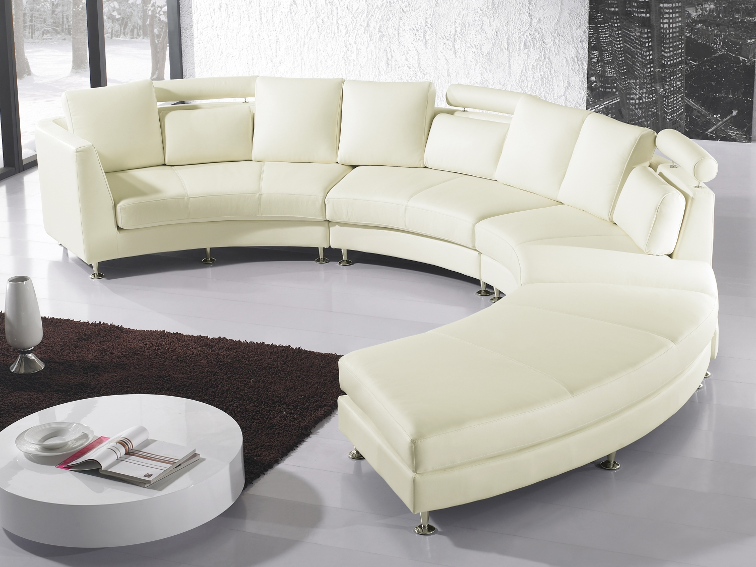 Cream Leather Corner Sofa 7 Seater Couch Large Circle