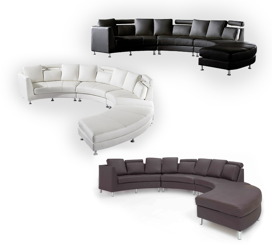 Curved Sofa Sectional Leather: CONTEMPORARY ROUND SECTIONAL LEATHER SOFA WHITE ROTUNDE