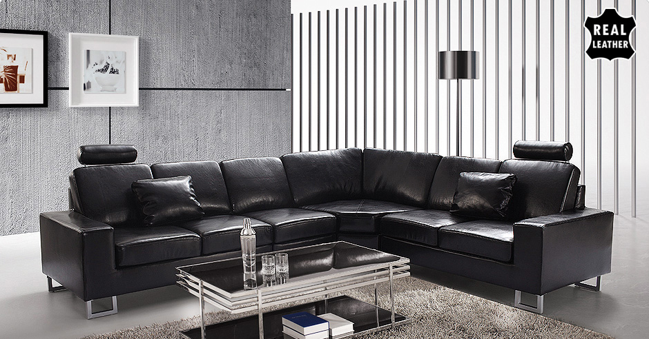 LEATHER CORNER SUITE SOFA LEFT OR RIGHT HAND COUCH BELIANI