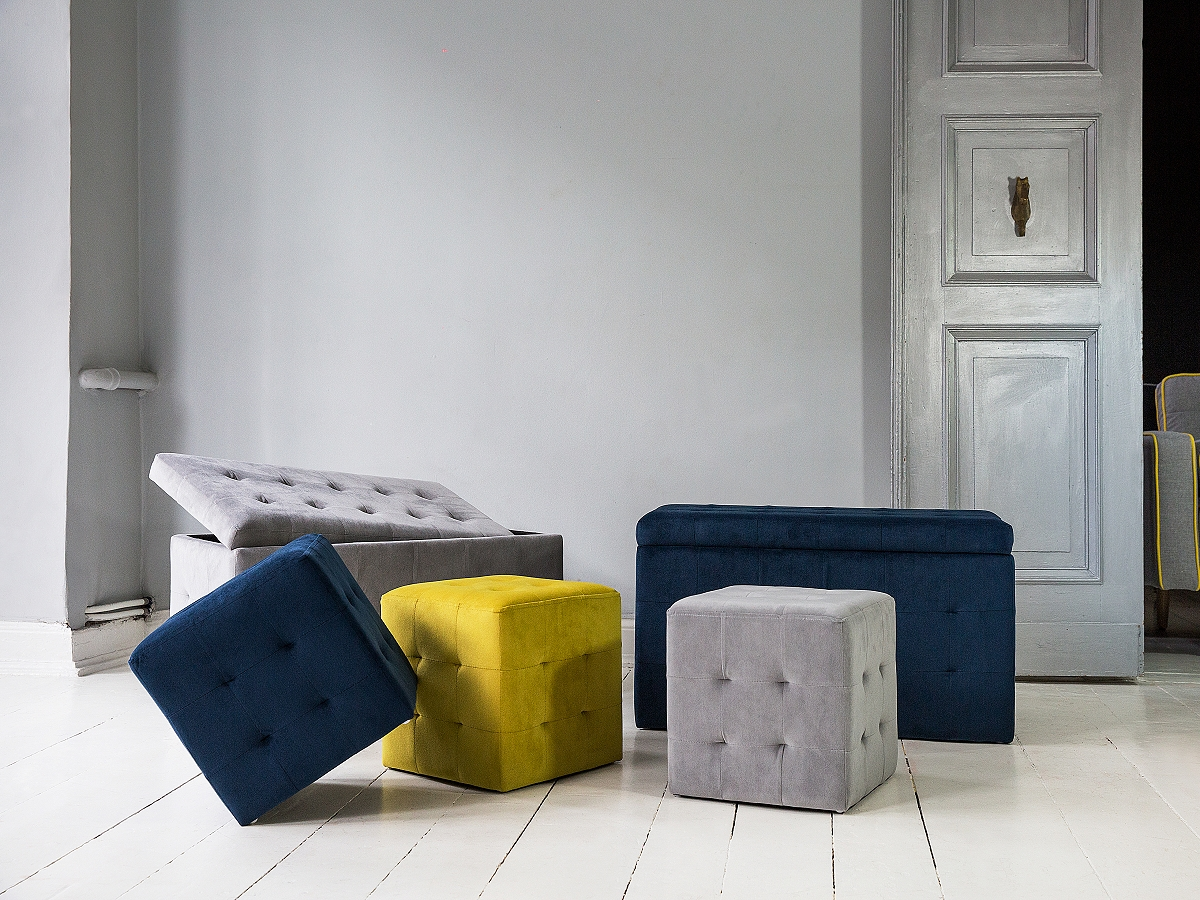 ottoman stool pouffe cube button tufted grey ebay. Black Bedroom Furniture Sets. Home Design Ideas