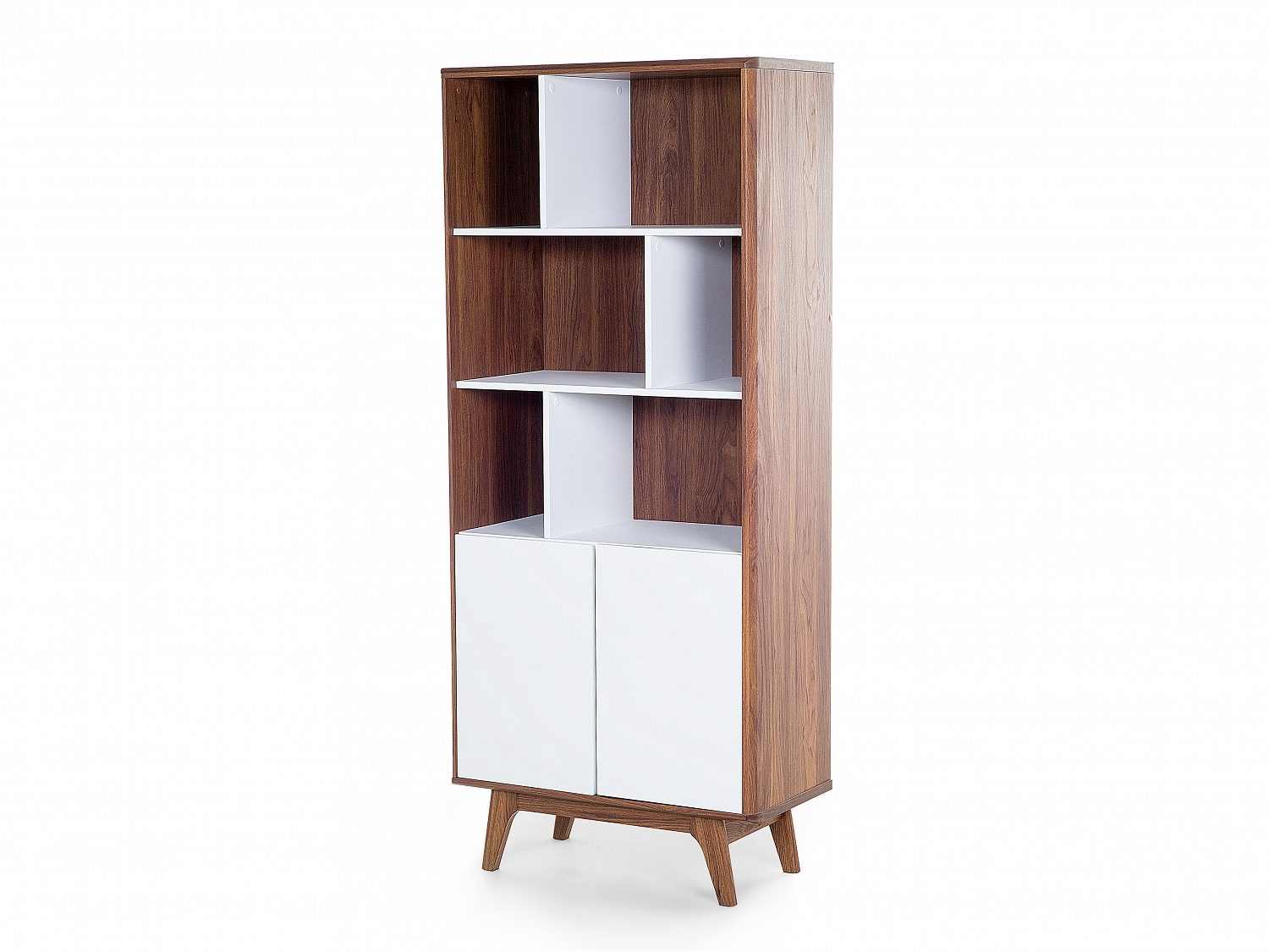 Wonderful image of Bookcase White Tall Wood Varnish 6 shelves 2 cabinets eBay with #8F5C3C color and 1500x1125 pixels