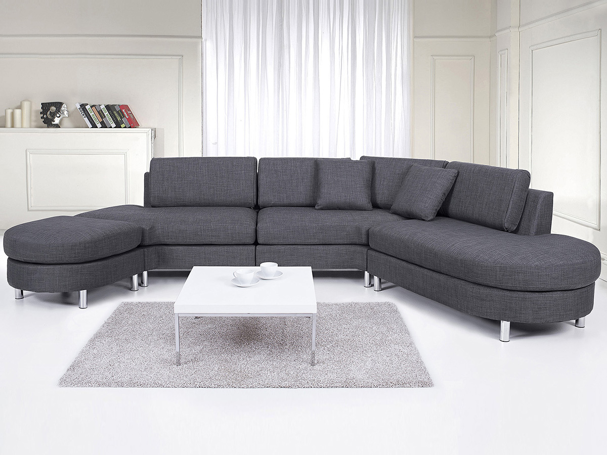 Modular Sofa Modern Style Living Room Furniture Set Grey Fabric EBay