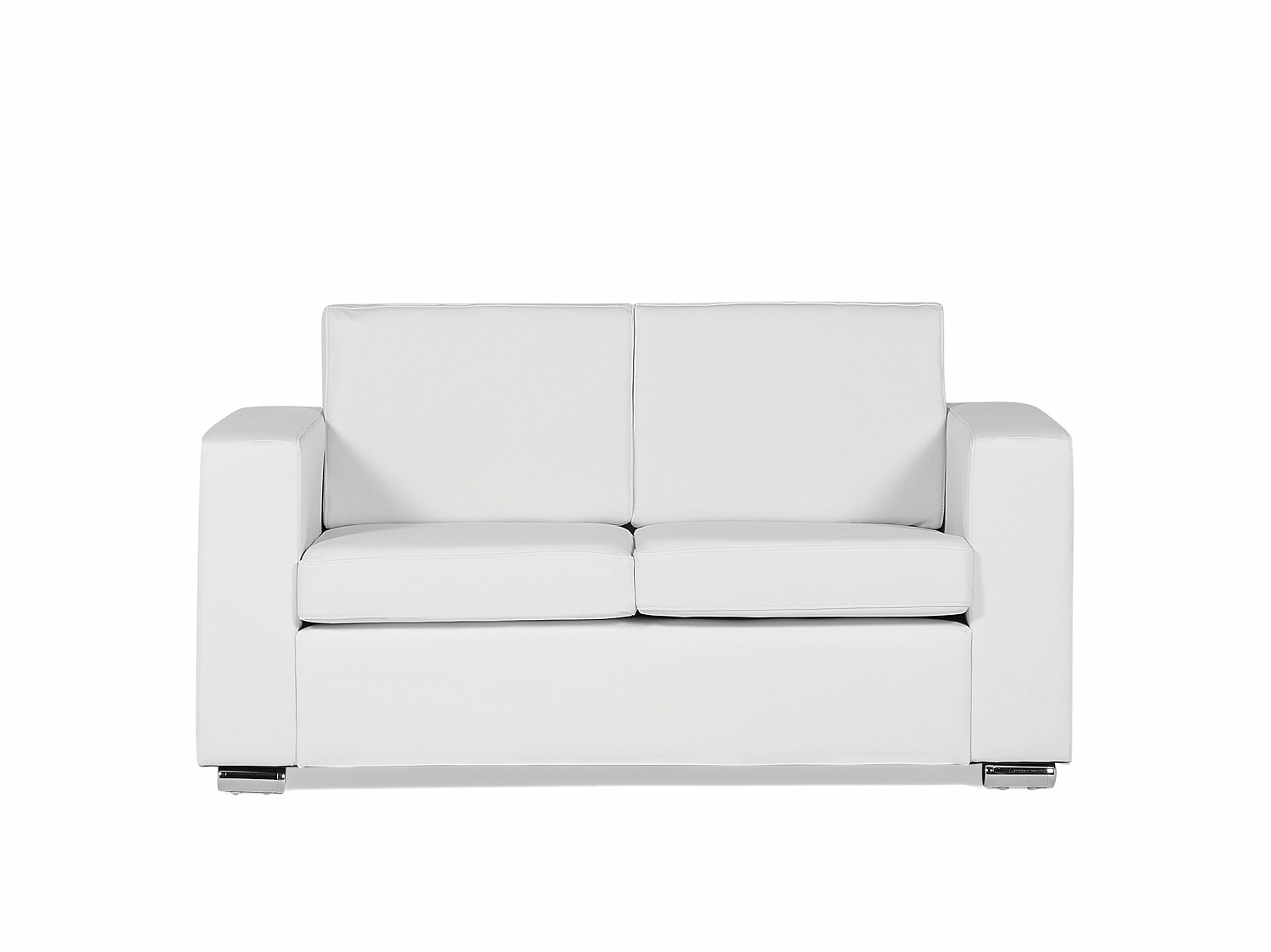 white leather sofa love seat couch 2 seater settee modern metal legs ebay. Black Bedroom Furniture Sets. Home Design Ideas