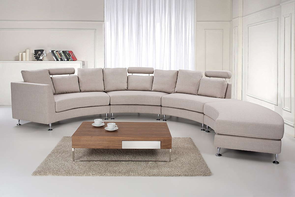 seven seater couch beige modular fabric round sofa settee ebay. Black Bedroom Furniture Sets. Home Design Ideas