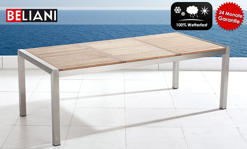 edelstahltisch 220 cm holzplatte neu in baar kaufen. Black Bedroom Furniture Sets. Home Design Ideas