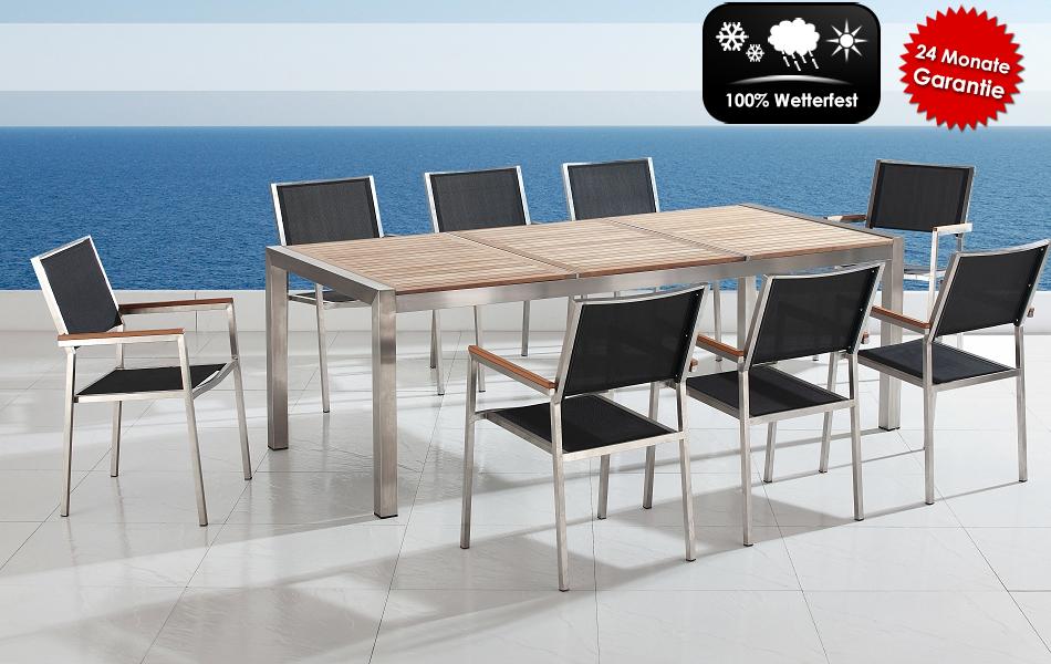 gartenm bel tisch mit holzplatte 8 st in baar kaufen bei. Black Bedroom Furniture Sets. Home Design Ideas