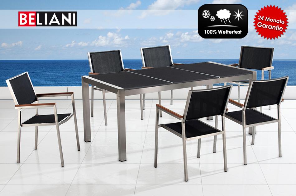 Globus Losheim Gartenmobel : Granitplatte Braun Schwarz  Gartenmöbel schwarz poliert, 6 Stühle