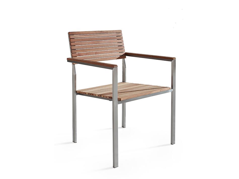 Chaise de jardin acier inox en teck baar acheter sur for Meuble de jardin seconde main